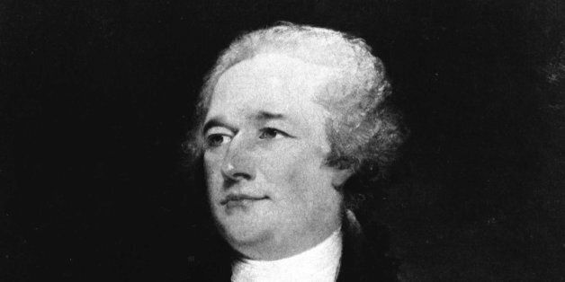 """Oil painting of Alexander Hamilton by John Trumbull.   Hamilton  was a principal author of """"The Federalist.""""   (credit: New Y"""