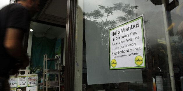 NEW YORK, NY - OCTOBER 02:  A notice in a store window announces a retail job opening  on October 2, 2014 in New York City. I