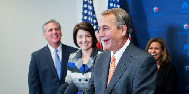 UNITED STATES - NOVEMBER 18: From left, House Majority Leader Kevin McCarthy, R-Calif., Cathy McMorris Rodgers, R-Wash., Speaker John Boehner, R-Ohio, Lynn Jenkins, R-Kan., Rep. Sean Duffy, R-Wisc., and Majority Whip Steve Scalise, R-La., conducts a news conference after a meeting of House Republicans in the Capitol, November 18, 2014. (Photo By Tom Williams/CQ Roll Call)