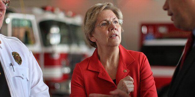 NORTHAMPTON, MA - FEBRUARY 19: U.S. Senator Elizabeth Warren visited a fire station in Northampton, Mass. Warren spoke to Fir