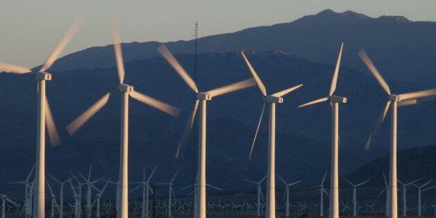 Desert wind turbines in Palm Springs