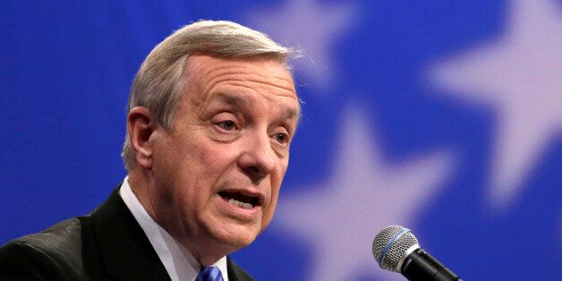 FILE - In this Oct. 22, 2014 file photo is Illinois Democratic U.S. Sen. Dick Durbin who was re-elected Tuesday, Nov. 4, 2014