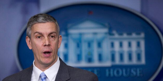 FILE - This March 14, 2014 file photo shows Education Secretary Arne Duncan speaking in the Brady Press Briefing Room of the