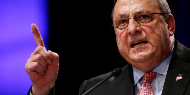 FILE- In this Jan. 7, 2015 file photo, Republican Gov. Paul LePage delivers his inauguration address in Augusta, Maine. LePag