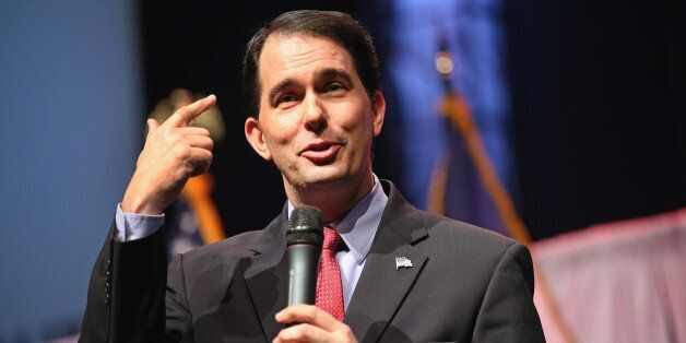 WAUKEE, IA - APRIL 25: Governor Scott Walker of Wisconsin speaks to guests gathered at the Point of Grace Church for the Iowa