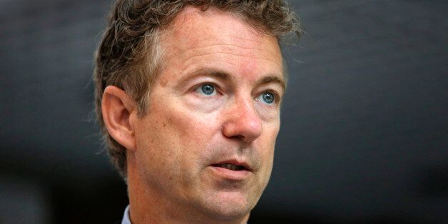 Republican presidential  candidate, Sen. Rand Paul, R-Ky. speaks to a group of business leaders, Monday, May 11, 2015, in Man