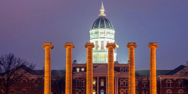 Columns in front of University of Missouri building in Columbia, Missouri, USA