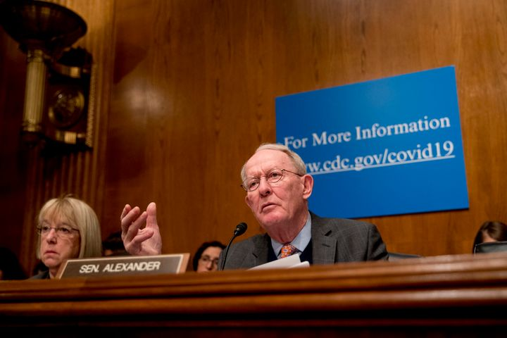 An objection from Sen. Lamar Alexander (R-Tenn.), seen during a March 3 coronavirus hearing on Capitol Hill, blocked an emergency paid sick leave bill sponsored in the Senate bySen. Patty Murray (D-Wash.) left.
