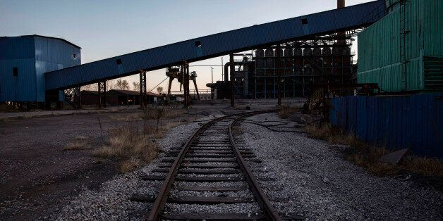 TANGSHAN, CHINA - JANUARY 26: A railway track is seen in the abandoned Qingquan Steel plant which closed in 2014 and became o