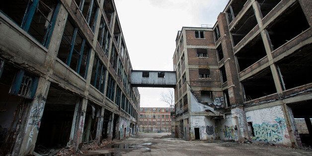 The abandoned Packard auto assembly plant stands in Detroit, Michigan, U.S., on Tuesday, April 21, 2015. Arte Express Detroit
