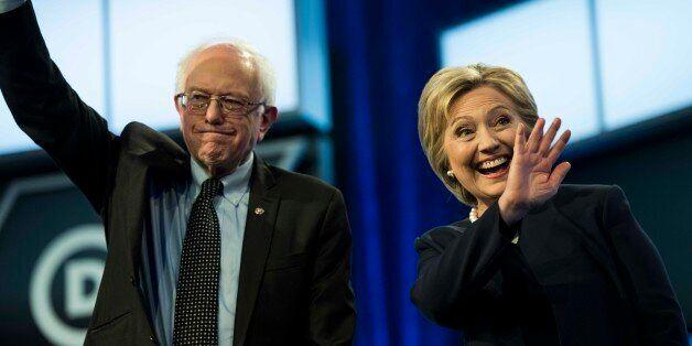 MIAMI, FL - Former Secretary of State Hillary Clinton and Senator Bernie Sanders participate in the Univision News and Washin