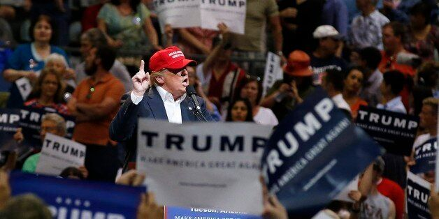 Republican presidential candidate Donald Trump speaks during a campaign rally Saturday, March 19, 2016, in Tucson, Ariz. (AP
