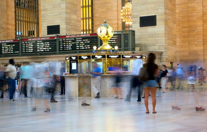 "In this stock photo, commuters move through Grand Central Station in New York City. A conference in the city on on ""Doing Business Under Coronavirus"" has been cancelled over fears it might spread the coronavirus."
