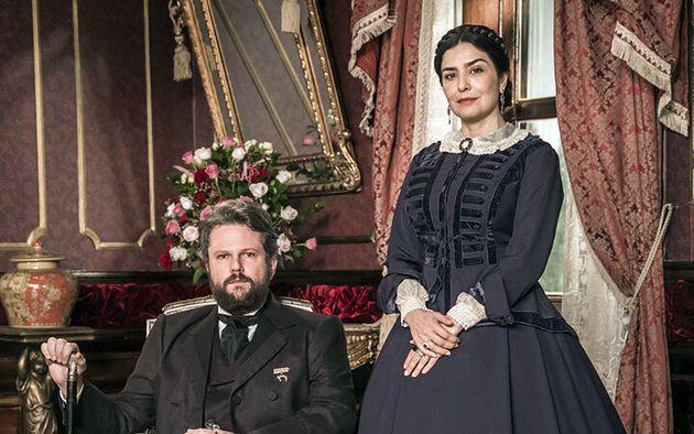 Selton Mello como D. Pedro II e Letícia Sabatella como Imperatriz Tereza Cristina em