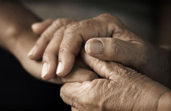 hands of an elderly woman...