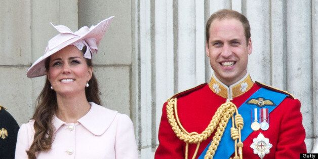 LONDON, UNITED KINGDOM - JUNE 15:  Catherine, Duchess of Cambridge and Prince William, Duke of Cambridge stand on the balcony during the annual Trooping the Colour Ceremony at Buckingham Palace on June 15, 2013 in London, England. (Photo by Samir Hussein/WireImage)