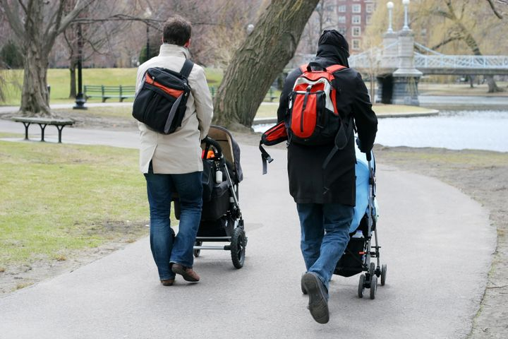 two fathers walking babies in strollers in park