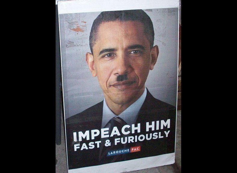 LaRouche Pac Protest photo depicting Obama as Hitler