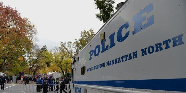 A New York Police Department comand center vehicle is stationed on Central Park West near the finish line before the New York