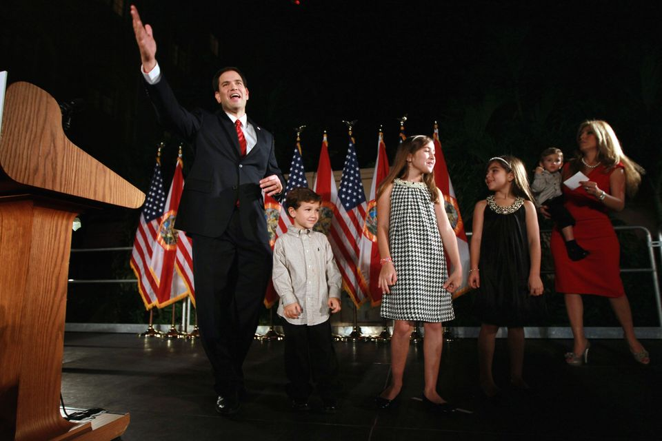 CORAL GABLES, FL - NOVEMBER 02:  (L-R) Republican nominee for Florida U.S. Senator Marco Rubio stands with his family, Anthon
