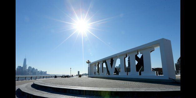 HOBOKEN, NJ - JANUARY 30:  The Super Bowl XLVII sign stands at Pier A in January 30, 2014 Hoboken, New Jersey.The Denver Bron