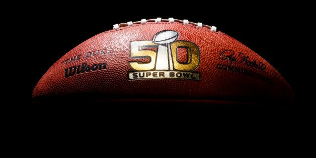 An official game ball for the NFL Super Bowl 50 football game is photographed, Tuesday, Jan. 26, 2016. The Wilson Sporting Go