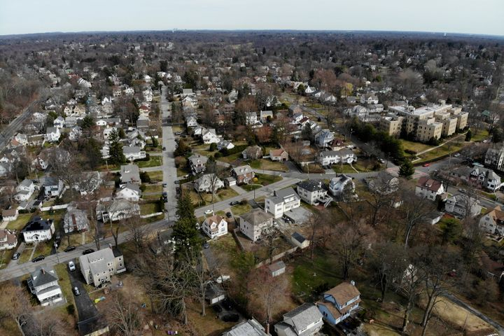 A suburban area that mostly falls within the containment area in New Rochelle, New York, on March 11, 2020.