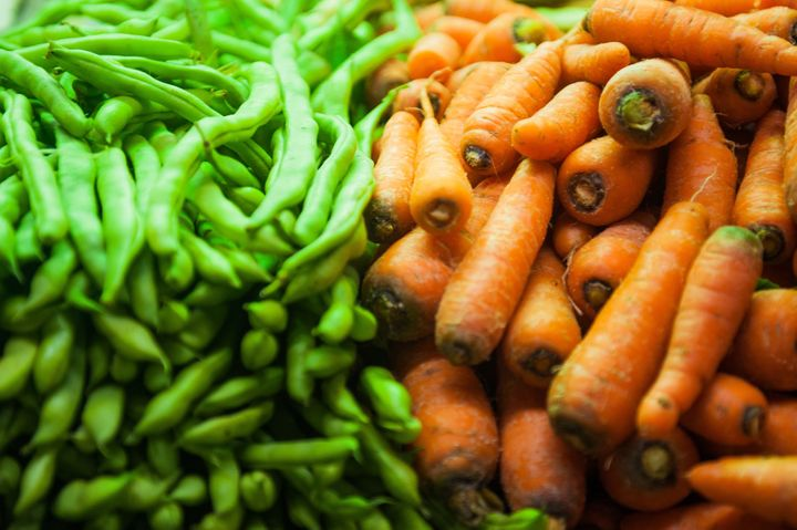 green pea and carrots at the...