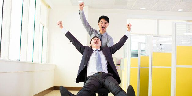 happy business people having fun in office