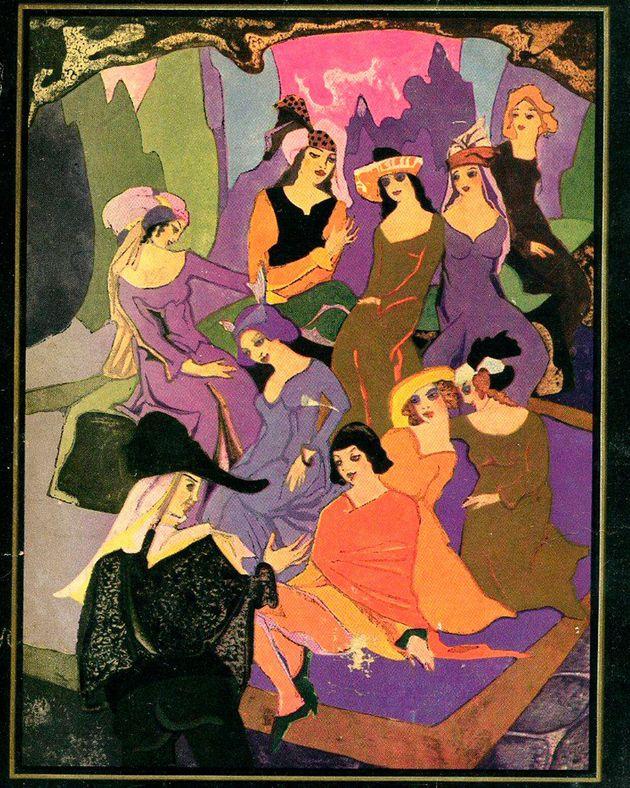 Detalla de la portada de 'Decamerón', de Boccaccio, con ilustración de Jean...