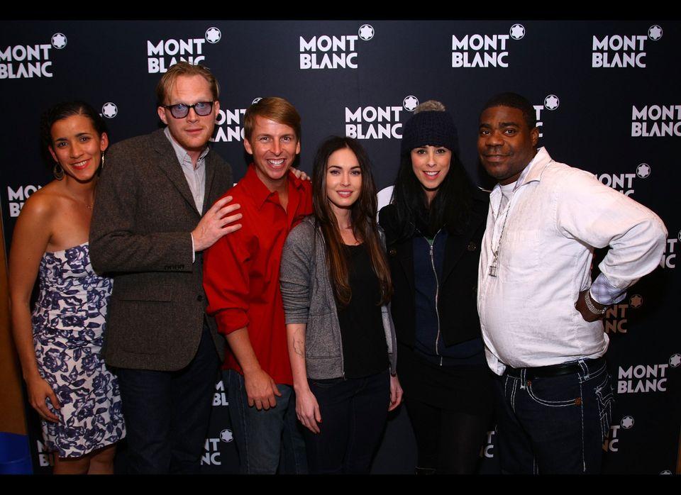 NEW YORK, NY - NOVEMBER 14: (L-R) Patricia McGregor, Paul Bettany, Jack Mcbrayer, Megan Fox, Sarah Silverman and Tracy Morgon