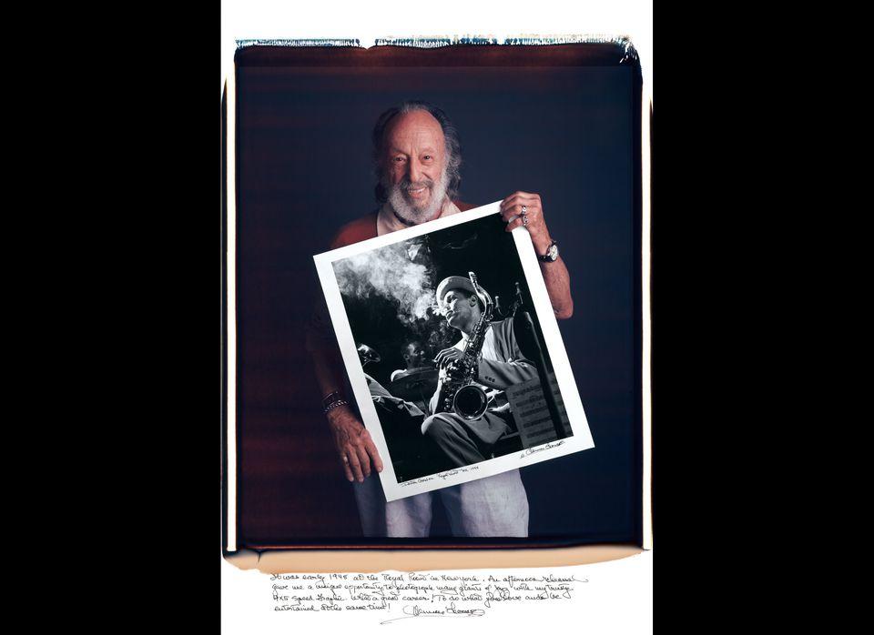 With his portrait of bebop pioneer Dexter Gordon in New York City, 1948.