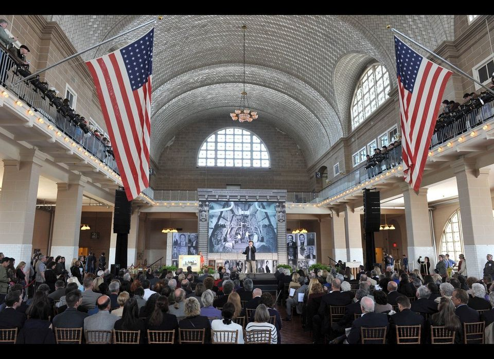 The ceremony for the 11th annual Ellis Island Family Heritage Awards was held in the great hall where both attendees and tour