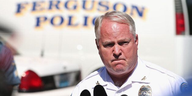 FERGUSON, MO - AUGUST 13:  Police Chief Thomas Jackson fields questions related to the shooting death of teenager Michael Bro
