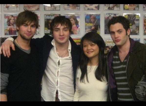 Celebrity Editor Youyoung Lee with Chace Crawford, Ed Westwick and Penn Badgley