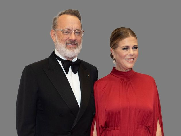 Tom Hanks, actor, and Rita Wilson, actress, (l-r), graphic element on