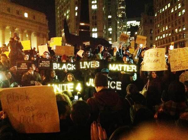 Protesters take the streets in New York on Thursday.