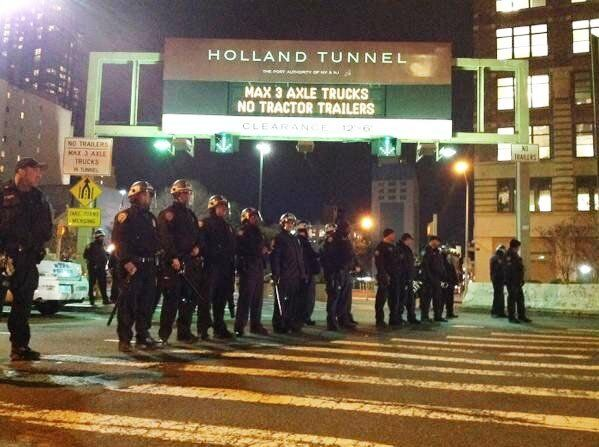 Police prepare for protesters in New York on Thursday.