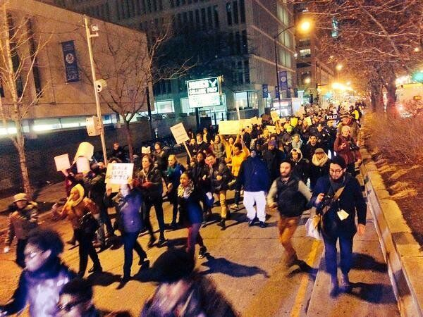 Protestors march in Chicago on Thursday.
