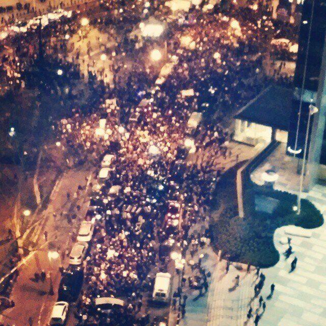 Protestors fill Foley Square in New York City on Thursday..