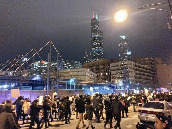 Protesters take the streets in Chicago on Thursday.