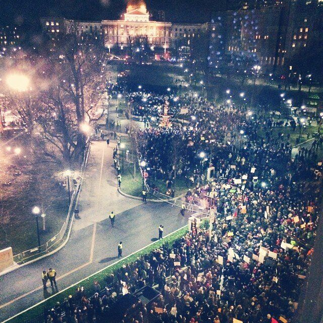 Protesters gather in Boston on Thursday.