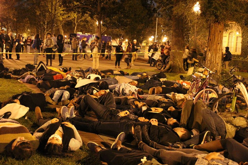 Protesters gather at the University of Southern California on Thursday, Dec. 4, 2014.