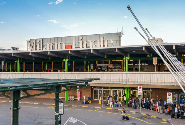 Milan, Italy - Sept 17, 2017: Entrance to Milan Linate, which services short and medium-range destinations...