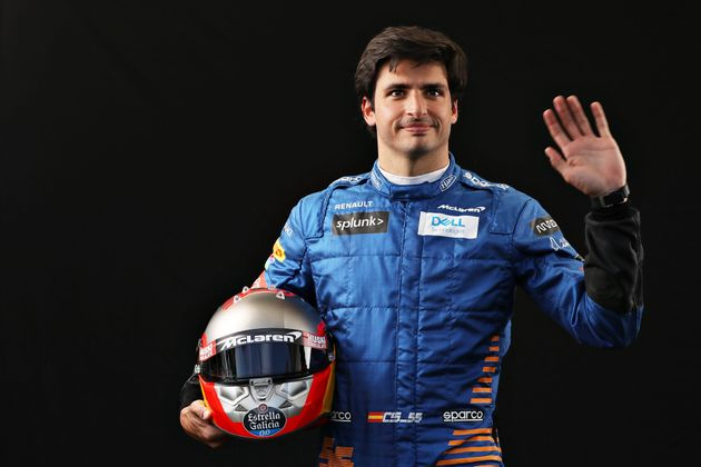 Carlos Sainz of Spain and McLaren F1 poses for a photo in the Paddock during previews ahead of the F1...