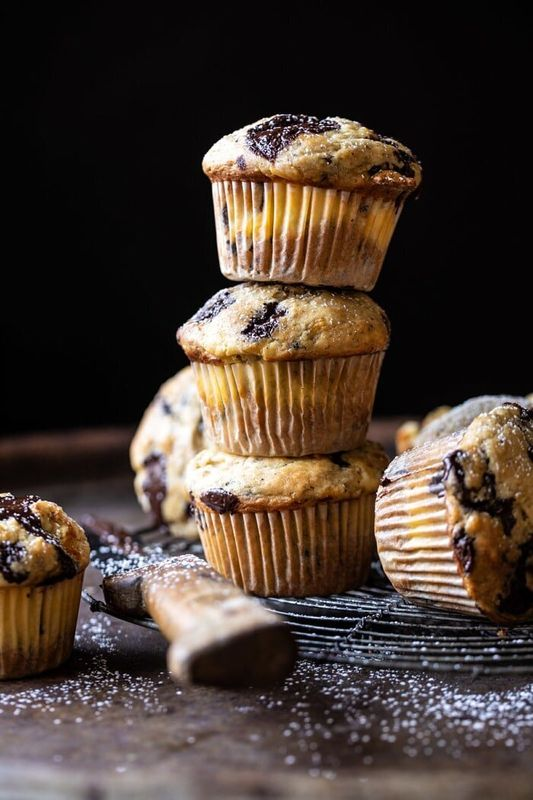 Get the Cheesecake Stuffed Chocolate Chunk Banana Bread Muffins recipe from Half Baked Harvest