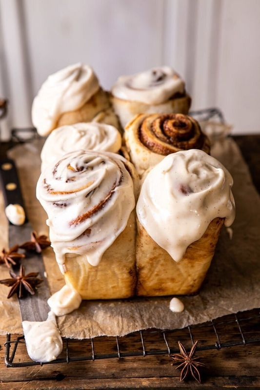 Get the Overnight Cinnamon Roll Bread With Chai Frosting recipe from Half Baked Harvest