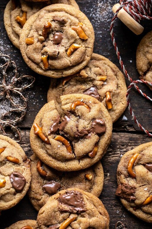 Get the Salted Caramel Pretzel Snickerdoodles recipe from Half Baked Harvest