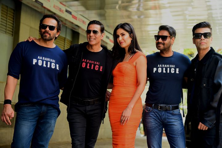 Bollywood film director Rohit Shetty (L), actors Akshay Kumar (2L), Katrina Kaif (3L), Ajay Devgn (2R) and producer Karan Johar (R) pose for pictureS during the trailer launch of the upcoming action Hindi film 'Sooryavanshi' in Mumbai on March 2, 2020. (Photo by Sujit Jaiswal / AFP) (Photo by SUJIT JAISWAL/AFP via Getty Images)