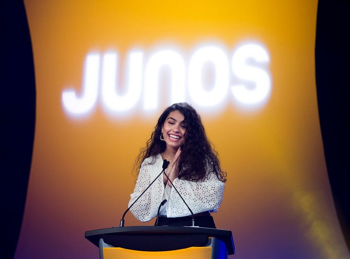 Alessia Cara, who was set to host the 2020 Juno Awards, speaks at a press conference in Toronto in January 2020. The show was cancelled on Thursday due to ongoing fears about the coronavirus pandemic.